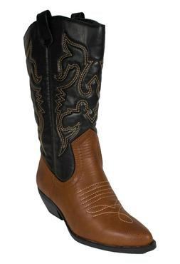 RENO! Women's Cowboy Pointy Toe Stitches Detail Stacked Heel