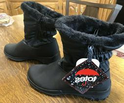 TOTES RIKKI Women's Warm Waterproof Snow Zip Up BOOTS Black
