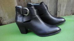 VIONIC Rory Womens Sz 9.5/41.5 Black Leather Ankle Boots Boo