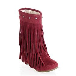 JOYBI Women Round Toe Mid-Calf Boots Slip On Fringe Comfort
