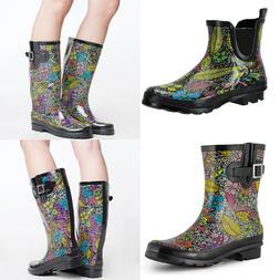 Rubber Garden Rain Boots for Women Waterproof Floral Printed