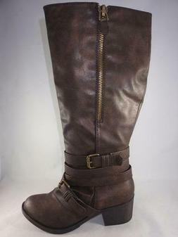 Women's Rampage Sabir Brown  Zip Up Medium Heel Tall Boots