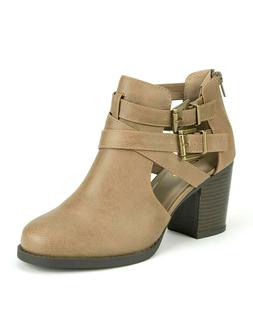 SODA SCRIBE Women's Ankle Boots Beige High Heels Casual Boot