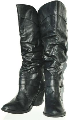 Forever 21 Sexy Womens Faux Leather Black Knee High Boots
