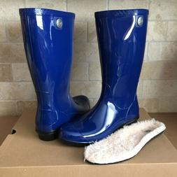 UGG SHAYE BLUE JAY RUBBER RAIN TALL BOOTS FUR INSOLE SIZE US