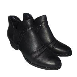 Earth Shoes Delrio Black Leather Ankle Boots Stud Detail Boo