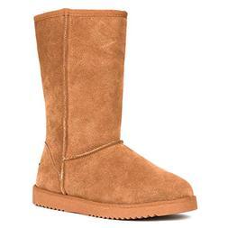 DREAM PAIRS Women's Shorty-HIGH Chesnut Knee High Winter Sno
