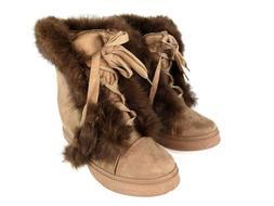 Henry Ferrera Slinky Khaki Womens Faux Fur Winter Boots Shoe