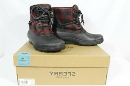 SPERRY Saltwater Wedge Tide Women's Duck Boots Black Red Pla