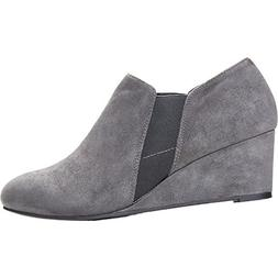 Vionic Women's Stanton Wedge Booties Slate Grey 9 / Med