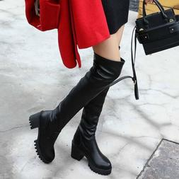 Stretchy Women's Over the Knee Boots Block Heel Rhinestone S