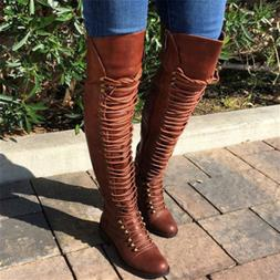 STYLISH Women Over-the-Knee Boots Lace Up Block Heels Shoes
