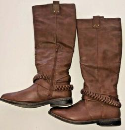 Rampage Tall Brown Tan Riding Boots Size 7 1/2 Womens IBSEN