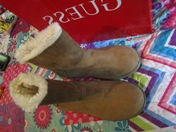 Guess Tan Faux Fur Sz 8 Boots Short Brown Flat NEW!