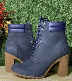 Timberland Tillston 6 Inch Navy Nubuck Women Boots Size 9.5
