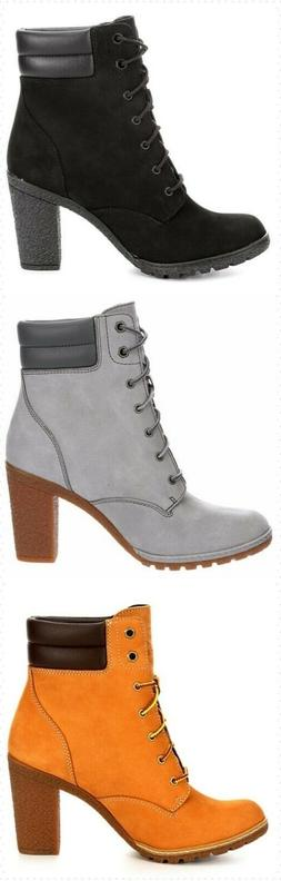 Timberland Tillston Women's High Heel Lace Up Boots Shoes St