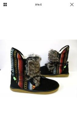 SANUK TRIPPER FLURRY WOMEN BOOTS BLACK New Size 7