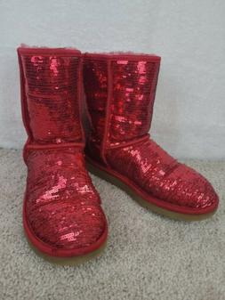 UGG Australia  Womens Size 7 Red Sequins Sparkle Boots Shoes