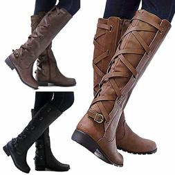US Women Riding Boots Lace Up Mid Calf Boots Casual Zip Buck