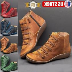 US Women's Lace Up Ankle Boots Leather Flat Heel Booties Cas