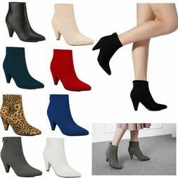 DREAM PAIRS Women/'s Almond Toe Buckle Zip Ankle Boots High Heel Booties 5-11 NEW