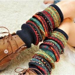 US Women Winter Warm Knitted Leg Warmers Lady Cable Crochet