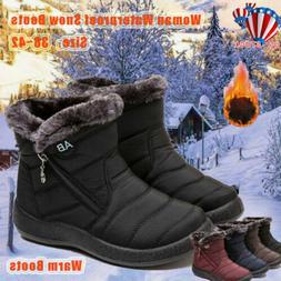 US Womens Fur Lined Waterproof Ankle Snow Boots Ladies Winte