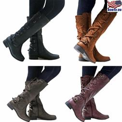 US Womens Lace Up Zip Boots Knee High Mid Calf Block Heel Ri