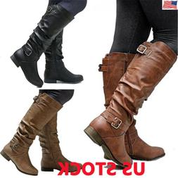 US Womens Winter Mid Calf Leather Flat Knee High Boots Ladie