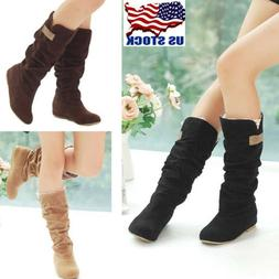 USA Womens Autumn Winter Slouchy Mid Calf Boots Lace Cuff Hi