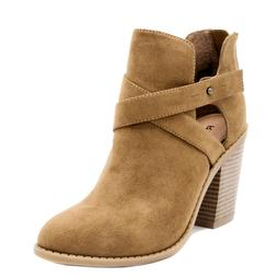 Rampage Vedette Womens Suede Side Cut-Out Strappy Block Heel