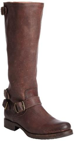 FRYE Women's Veronica Back-Zip Boot, Dark Brown Stone Antiqu