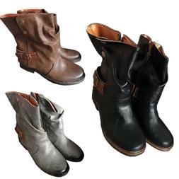 Vintage Winter Womans Ladies Horse Riding Ankle Boots Combat