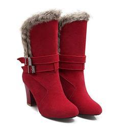 JOYBI Women Winter High Heel Snow Boots Comfort Faux Suede W