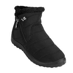 Netursho Winter Snow Boots, Slip-on Water Resistant Ankle Bo