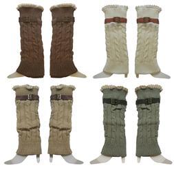 Winter Warm Leg Warmers Knit Crochet Leggings Boots Socks Wo