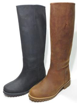 Timberland Woman's Main Hill Premium Leather Tall Boots Blac