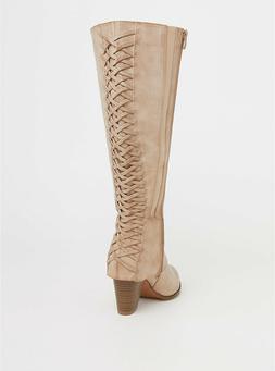 Torrid Womans Plus Size Lattice Boots Knee-High Tan Heels 11