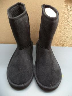 Womans Winter Boots Black Fabric Upper Faux Fur Lining EVA O