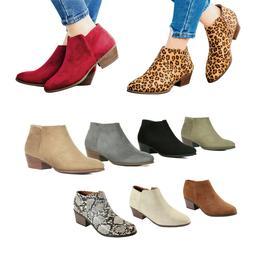 Women Almond Toe Faux Suede PU Zip Slip On Chunky Low Heel A