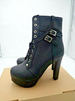 Susanny Women Autumn Lace Up Ankle Buckle Chunky High Heel P