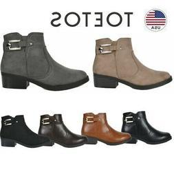 TOETOS Women Block Low Heel Ankle Boots Booties Zip Up Winte