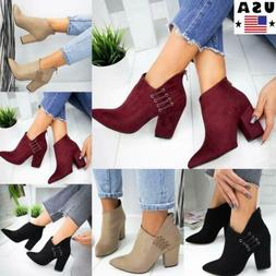 ⭐Women Block Mid Heel Ankle Boots Ladies Casual Zip Up Boo
