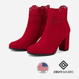 DREAM PAIRS Women Booties High Heel Ankle Boots Lace Faur Fu