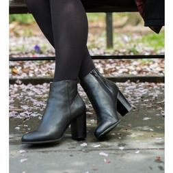 Women Vionic Boots Kennedy Zip Black Leather Orthaheel Comfo