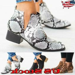 Women Chelsea Ankle Boots Ladies Low Block Heel Snakeskin Po