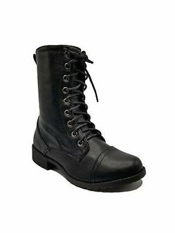 Foreverlink Women Combat Lace Up Mid Calf Boots JALEN-88