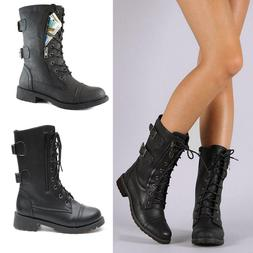Women Combat Military Boots Lace Up Zipper New Women Fashion