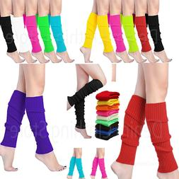 Women Crochet Knit Ribbed Leg Warmers Solid Knee High Winter