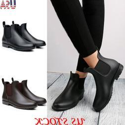 Women Fashion Casual Chelsea Low Heel Ankle Boots Waterproof